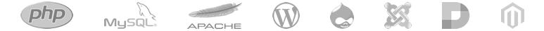 php, mysql, apache, wordpress, drupal, joomla, dotnetnuke, magento