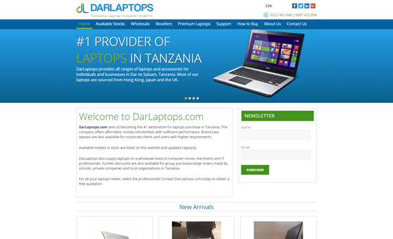 E commerce Website Design For Laptops Business